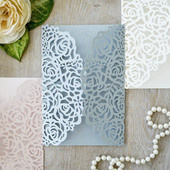 DIY Laser Cut Roses Gatefold Invitation - Laser Cut Wedding Invitations - Elegant Invitations - Lace Paper Invites -More Colors Available