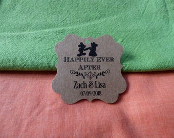 KRAFT, happily ever after Tags, Wedding Thank You Tags, Custom Wedding Tags, Favor Tags. Bridal Tags Disney tags Set of 25 to 300 pieces