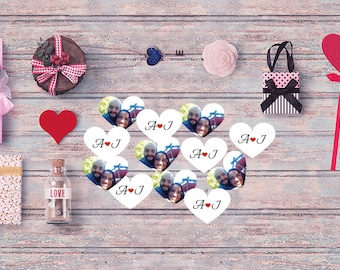 100 heart Double sided with PHOTO confetti, Personalized confetti Custom Confetti. Wedding Confetti. Party Supplies.Confetti.Party, HEART