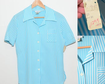 50's Vintage Blue Striped Shirt from Sears With Original Tags!