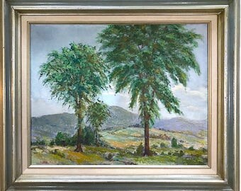 Vintage Signed Original Oil Painting Landscape with Trees by Massachusetts Artist Charles Reid