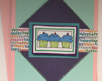 Handmade Happy Birthday Card with Cupcakes