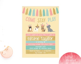 Puppy Party Invitation, Puppy Invitation, Puppy Birthday, Dog Invitation, Invitation, Puppy Party Invite, Puppy Pawty, Birthday Party