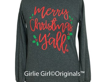 Girlie Girl Originals Christmas Y'all Long Sleeve Dark Heather T-Shirt
