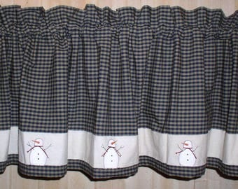 Snowman Valance Tiers And Runners Winter Kitchen Decor Primitive Country  Curtains Your Choice Of Fabric Winter