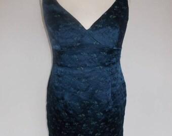 summer sale Vintage wiggle dress 90s Monsoon Navy floral embroidered pencil dress size medium
