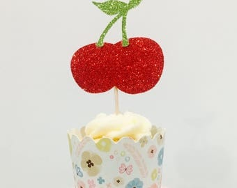 12ct Cherries Tutti fruity cupcake toppers, 2nd birthday cupcake toppers, fruit cupcake toppers