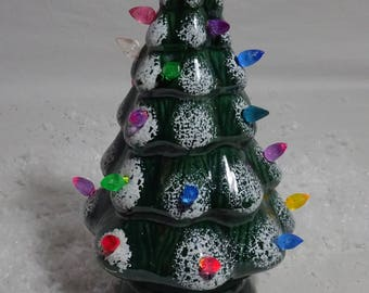 Small Green Lighted Ceramic Christmas Tree - Vintage - Holiday - Trim n' Glo - Multi Colored Twist Bulbs - 9 in.tall