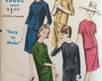 Vogue 5807 misses suit jacket and skirt size 12 bust 32 vintage 1960's sewing pattern
