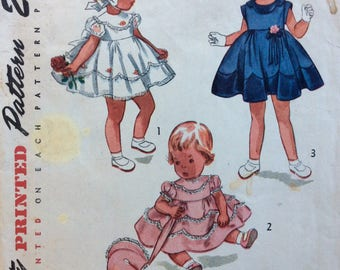 Simplicity 3471 toddlers girls dress, panties & bonnet size 1 vintage 1950's sewing pattern
