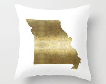missouri pillow gold foil missouri map pillow midwest home decor state map mo home decor st - Home Decor St Louis Mo