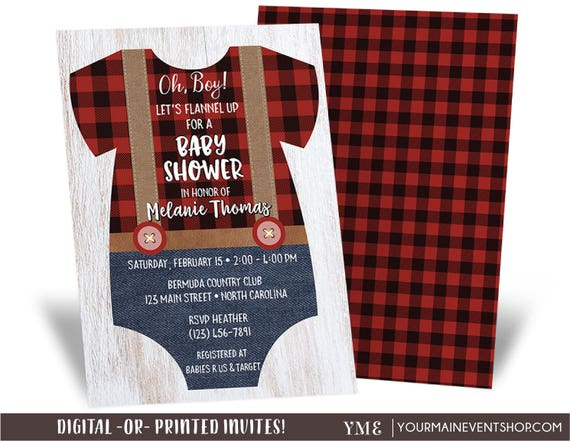 Lumberjack Baby Shower Invitation, Flannel, Plaid, Rustic Bear Woodland Baby Shower Invitation, Mama Bear Baby Sprinkle, Boy Lumber Jack