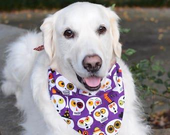 Purple Skulls Halloween Dog Bandana Eek Boo - Orange Bones Reversible Pet Scarf - Dog Lover Gift by Three Spoiled Dogs