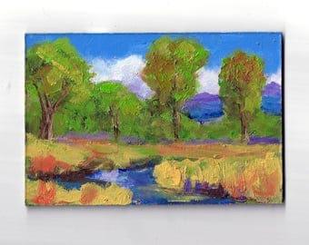 original 4x6 oil painting modern impressionist landscape tree painting, cloud painting,