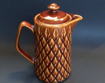 Vintage Mid Century Ceramic Japan Coffee Pot Tea Pot Golden Brown