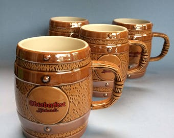 Set of 4 Rickards Oktoberfest Pilsner Advertising Beer Stein Mug