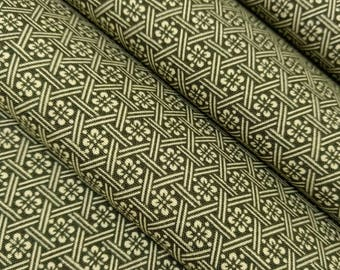 Vintage, moss green with white floral wool kimono fabric - by the yard