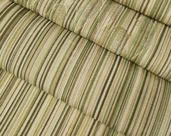 Silk Kimono fabric - earth tone stripes with woven drop pattern- by the yard