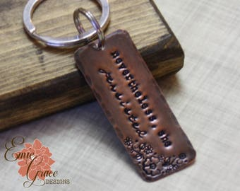READY TO SHIP - Copper Keychain, Nevertheless She Persisted, Hand Stamped Copper, Rustic Key Ring