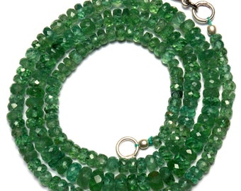 Natural Gemstone Rare Apple Green Color Kyanite 4 to 6MM Faceted Rondelle Beads 18 Inch Full Strand Fine Quality Beads Finished Necklace