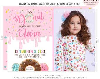 Donut Birthday Invitation Donut Birthday Party Invitation Donut Doughnut Invitation Donut Birthday Party Doughnut Birthday Party
