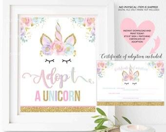 Unicorn Certificate Of Adoption Sign + Matching Certificate Of Adoption Adopt A Unicorn Favor Sign Adopt A Unicorn Gift Instant Download MU1