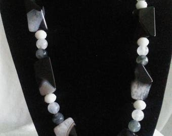 "18""L Black, Grey and White Necklaces with Earrings"