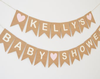 Personalised Baby Shower Name Bunting, Baby Shower Banner, pink, blue and yellow, new baby, party decoration