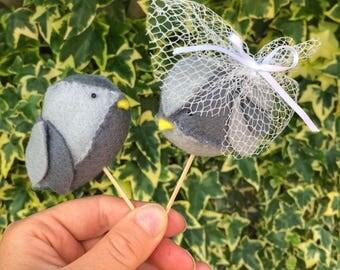 Handmade Felt Lovebird Cake Toppers - Pair of grey birds