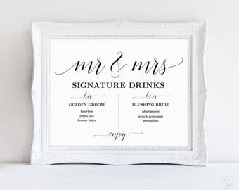 Signature Drinks Sign, Mr and Mrs Signature Drinks Sign, Printable Signature Drinks Sign, Wedding Reception Sign