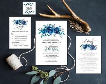 Blue Floral Wedding  Invitation, Printable Wedding Invitation Template, Editable Text, Instant Download, Indigo Floral