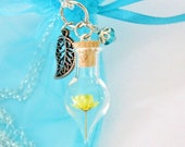 Custom Reserved for S  Terrarium Necklace, December Birthstone Nature Jewelry Dried Yellow Flower