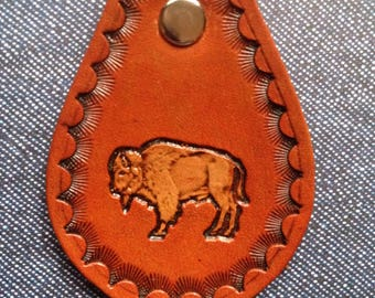 Ready To Ship !!! Standing Buffalo  leather key fob