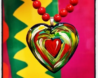 Colorful hand painted Hearts. Art that you can wear...