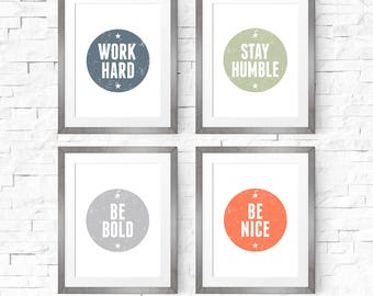 Nursery set prints, Nursery decor, Bundle printable, Work hard, Stay humble, Be bold, Be nice, Typography art print, Kids room decor