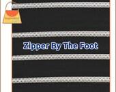 Black Metallic Look Nylon Coil Zipper by the Foot, Faux Metal Zipper, Size 5 Nylon Coil Zipper, Handbag Purse Supplies Sewing, ZIP-AA033