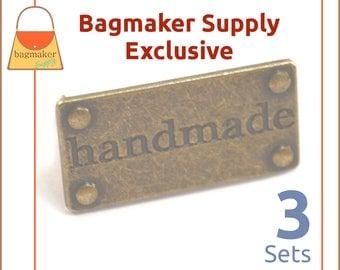 Handmade Purse Embellishment Plate, Antique Brass / Bronze, 3 Sets, Handbag Craft Making Hardware Supplies, Bag Bling, EMB-AA002