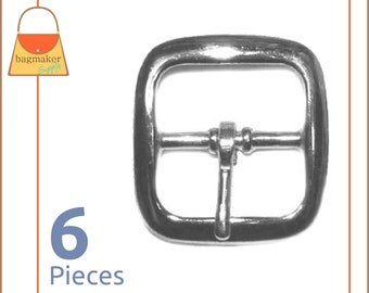 "1 Inch Square Strap Buckles, Nickel Finish, 6 Pieces, Lightweight, Handbag Purse Bag Making Hardware Supplies, 1"", BKS-AA011"