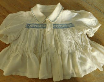 Vintage baby top  Handmade smocked top  Vintage baby clothes  Infant smocked top  Cream and blue top