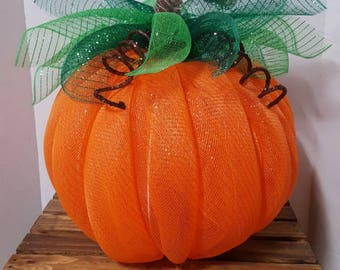 Mesh Pumpkin, Large Deco Mesh Pumpkin, Halloween Decor, Fall Decor, Pumpkin Decor, Orange Pumpkin