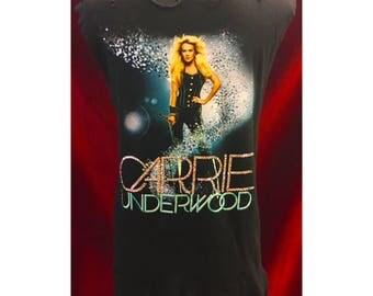 Custom Distressed Carrie Underwood Blown Away Tour Shirt With Swarovski Detail.