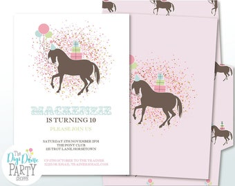 Pony/Horse Printable Party Invitation in Pink, Mint & White, 5x7in. Instant Download