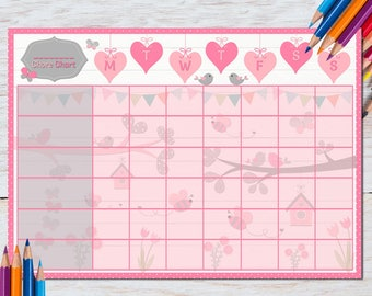 Chore Chart | Girls Chore Chart | Kids Chore Chart | Reward Chart | Bird | Butterfly | DIGITAL | Printable