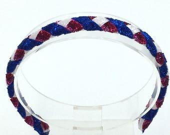 Blue Red & White Woven Headband, Patriotic Headband, 4th Of July Headband, Glitter Headband
