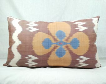 "14""x 24""  Amazing Silk Ikat Pillow Cover, Authentic Uzbek Handwoven Natural Silk and Cotton Adras Pillow Cover, Bohemian Decorative Pillow"