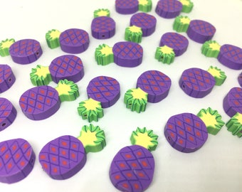 Pineapple Beads, Clay Beads, purple beads, bracelet necklace earrings, jewelry making, clay beads, bangle bead, pineapple decor beads