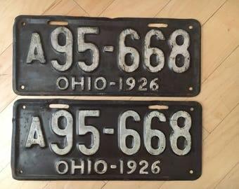 Pair of 1926 OH License Plates. OHIO Set.
