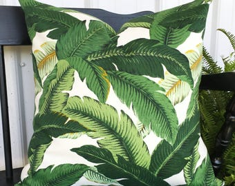 Pillow cover 20x20 tropical beach design Tommy Bahama print outdoor fabric Decorative Throw Pillow