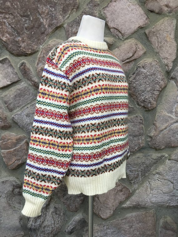 Vintage 80s Knights Bridge Wool Blend Striped Knit Sweater /