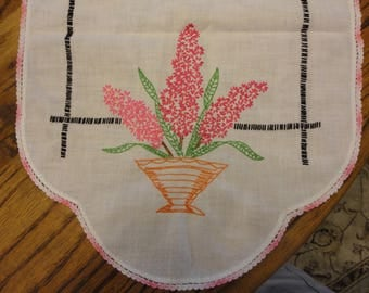 Dresser scarf  with hot pink hyacinth